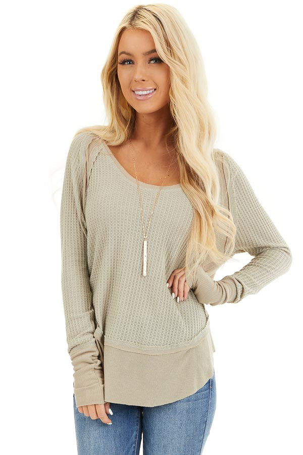 Khaki Knit Top with Long Sleeves and Ribbed Contrast front close up