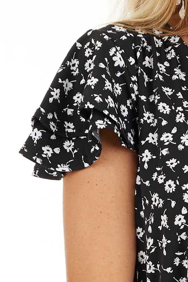 Black Floral Print Mini Surplice Dress with Ruffle Sleeves detail