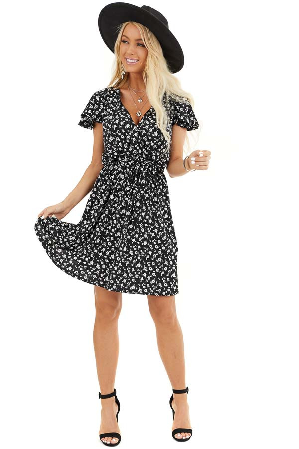 Black Floral Print Mini Surplice Dress with Ruffle Sleeves front full body