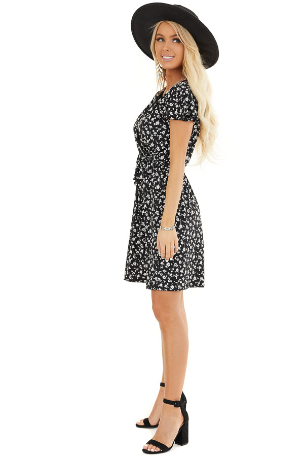 Black Floral Print Mini Surplice Dress with Ruffle Sleeves side full body