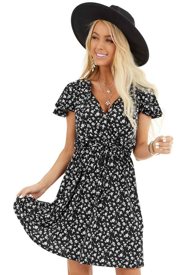 Black Floral Print Mini Surplice Dress with Ruffle Sleeves front close up