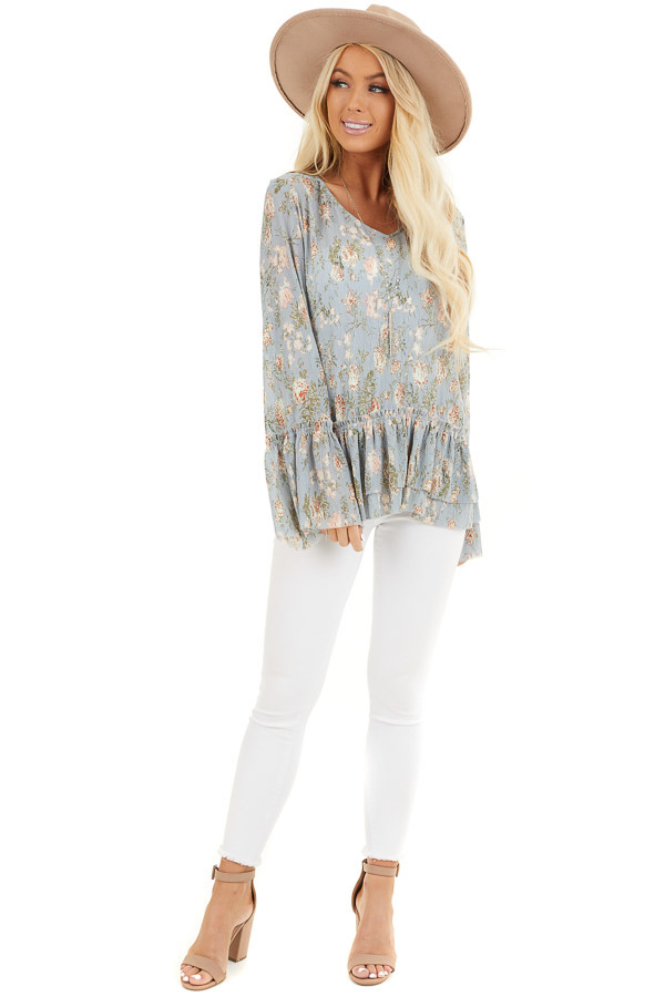 Slate Blue Floral Print Top with Trumpet Sleeves front full body