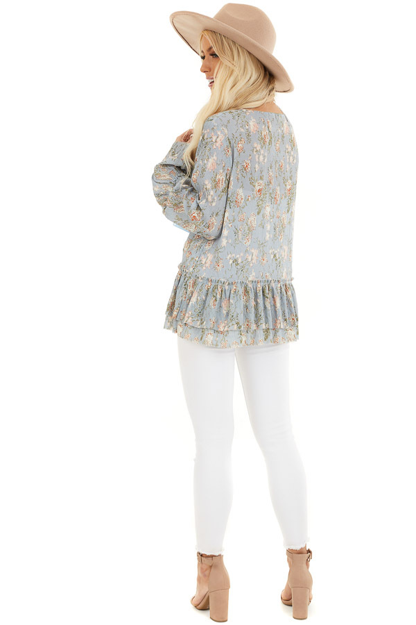 Slate Blue Floral Print Top with Trumpet Sleeves side full body