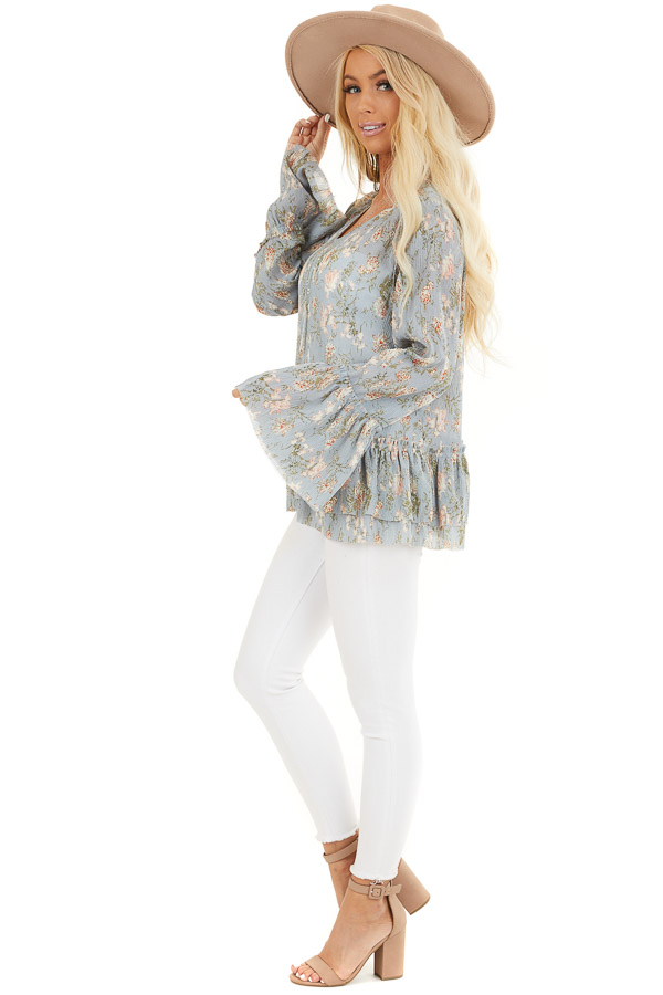 Slate Blue Floral Print Top with Trumpet Sleeves back full body
