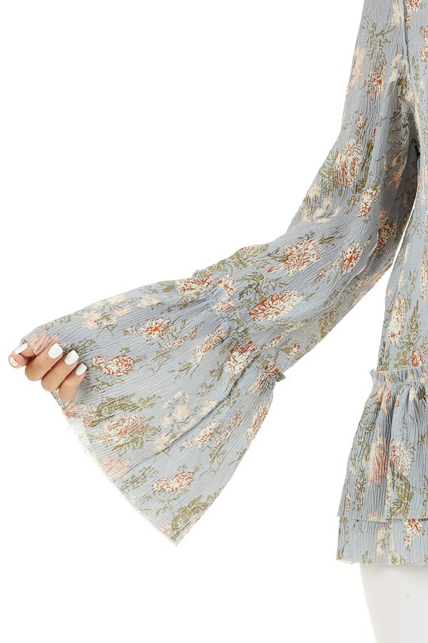 Slate Blue Floral Print Top with Trumpet Sleeves detail