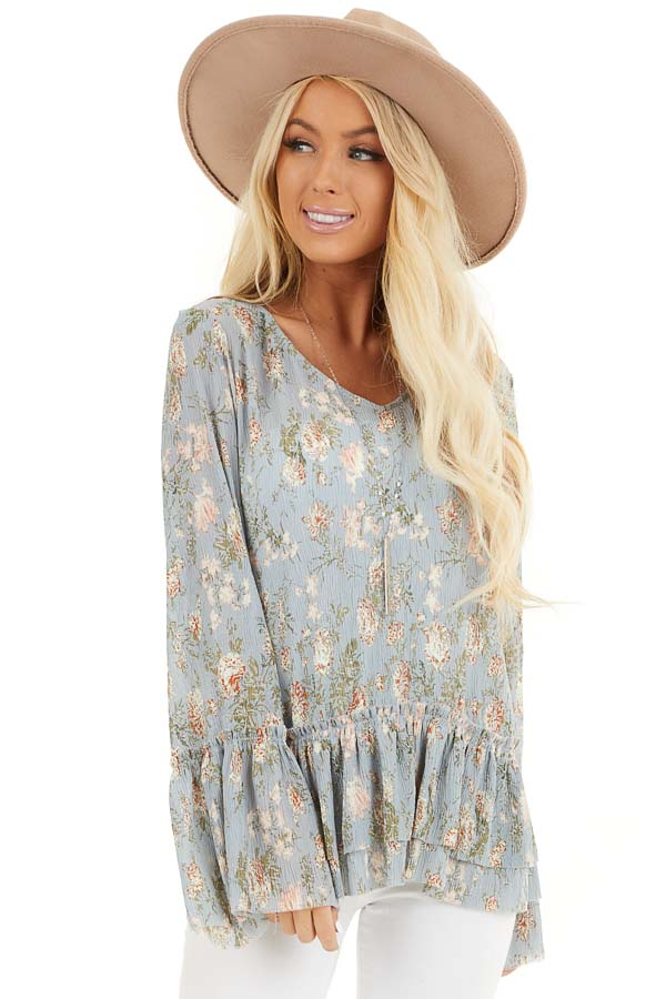 Slate Blue Floral Print Top with Trumpet Sleeves front close up