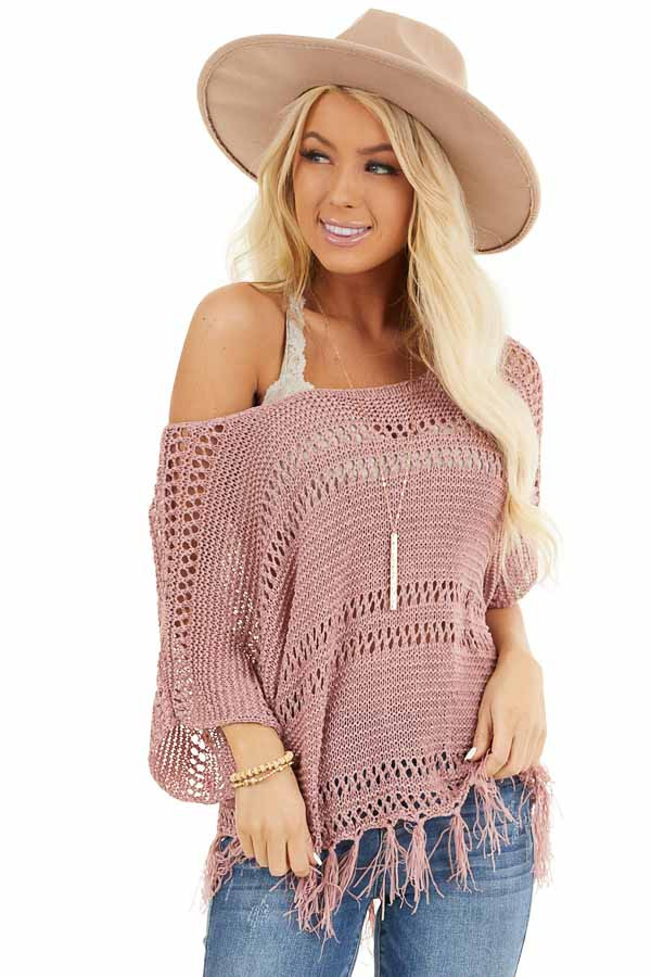 Mauve Loose Knit Short Sleeve Top with Tassel Detail front close up