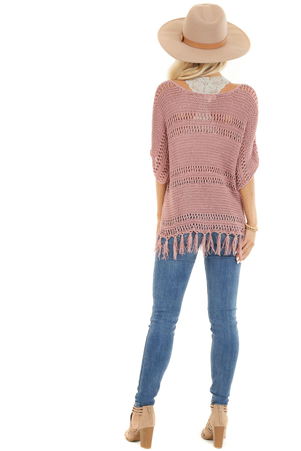 Mauve Loose Knit Short Sleeve Top with Tassel Detail back full body