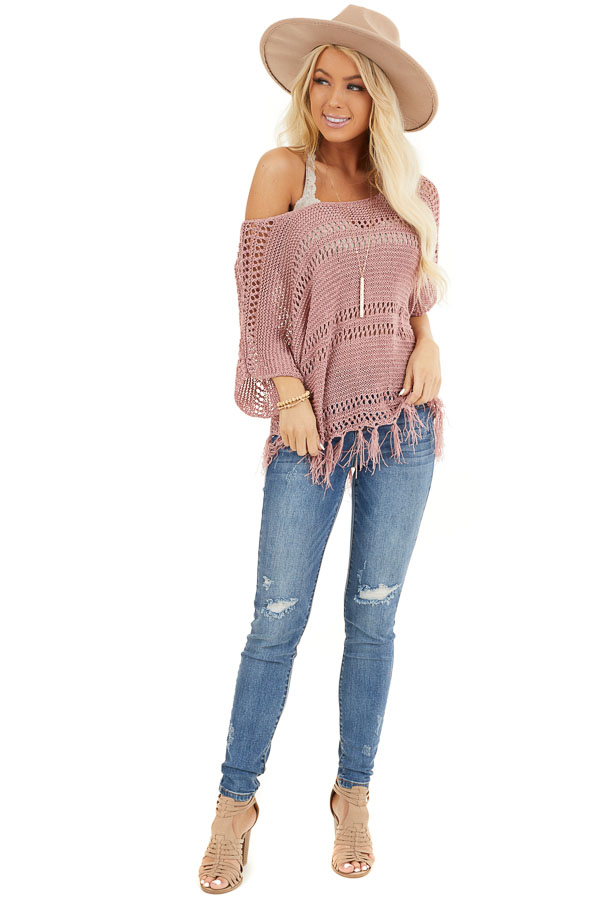 Mauve Loose Knit Short Sleeve Top with Tassel Detail front full body