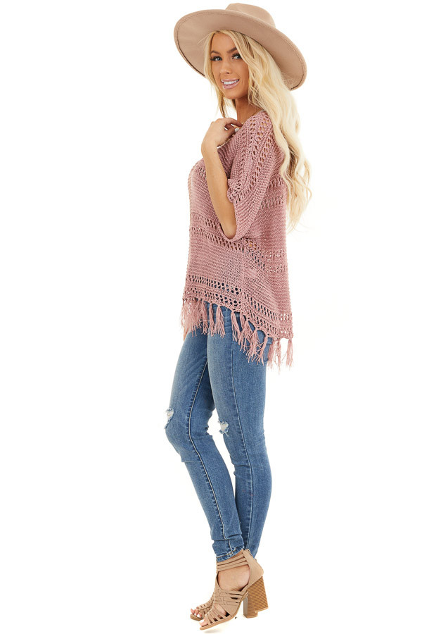 Mauve Loose Knit Short Sleeve Top with Tassel Detail side full body