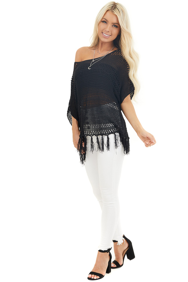 Black Loose Knit Short Sleeve Top with Tassel Detail front full body