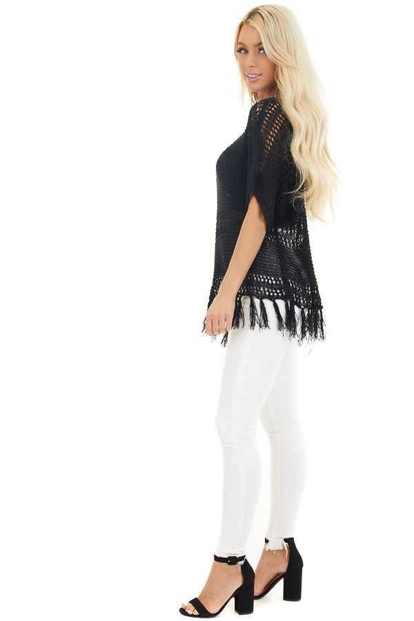 Black Loose Knit Short Sleeve Top with Tassel Detail side full body
