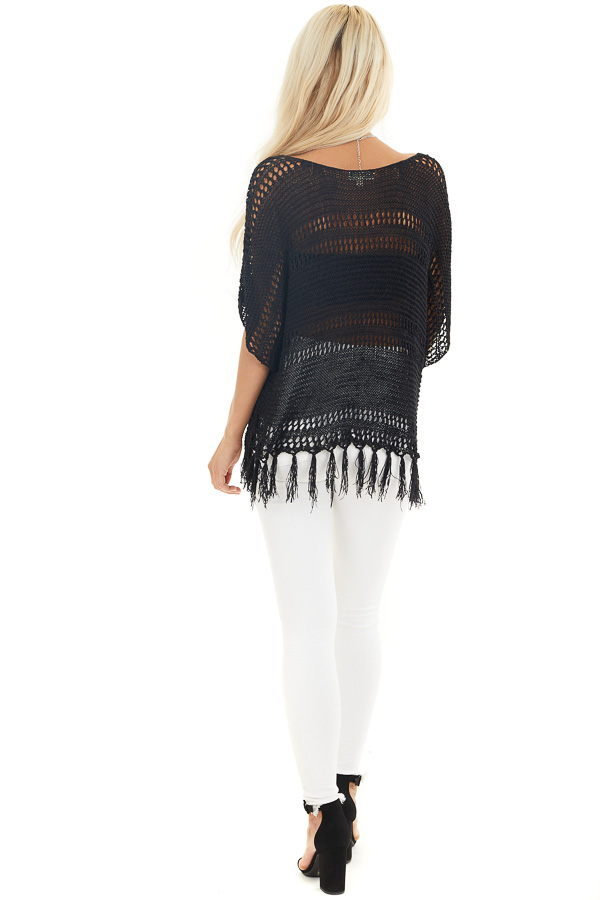Black Loose Knit Short Sleeve Top with Tassel Detail back full body