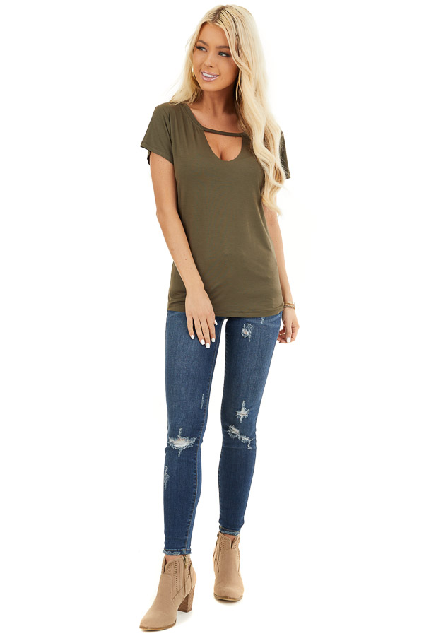 Army Green Short Sleeve Top with Front Cutout Detail front full body
