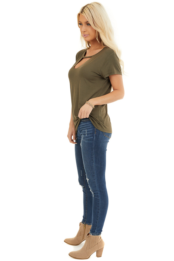 Army Green Short Sleeve Top with Front Cutout Detail side full body