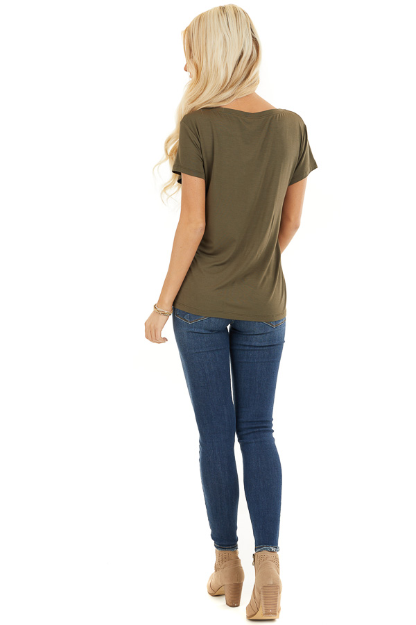 Army Green Short Sleeve Top with Front Cutout Detail back full body