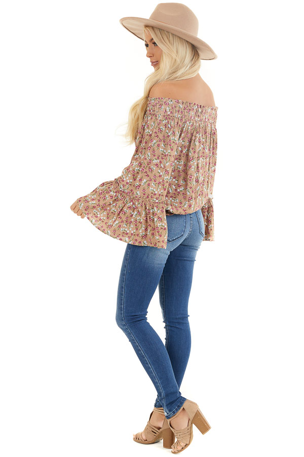 Latte Floral Print Smocked Off Shoulder Top with Long Sleeves side full body