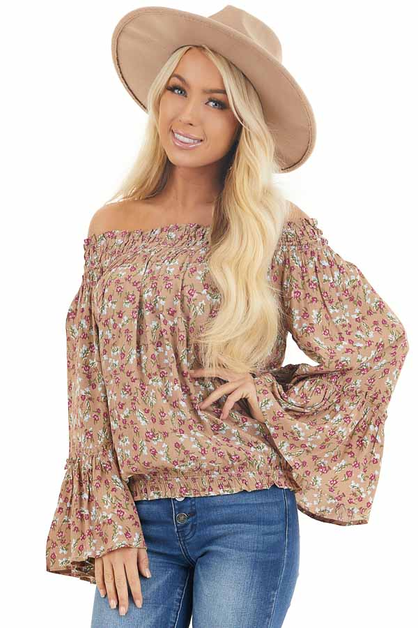 Latte Floral Print Smocked Off Shoulder Top with Long Sleeves front close up