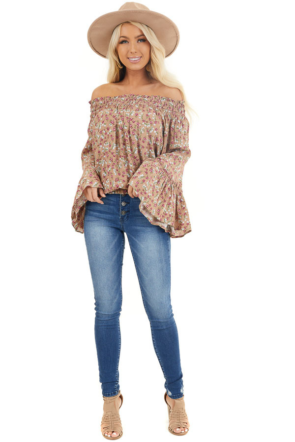 Latte Floral Print Smocked Off Shoulder Top with Long Sleeves front full body