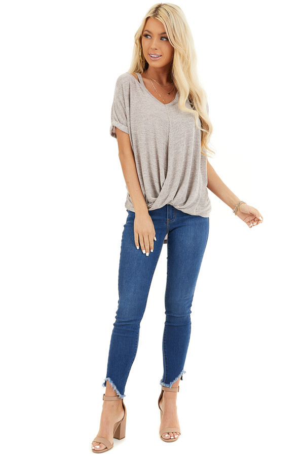 Desert Sand Knit Top with Bubble Hemline and Cutout Detail front full body