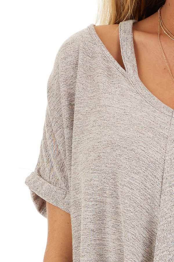 Desert Sand Knit Top with Bubble Hemline and Cutout Detail detail