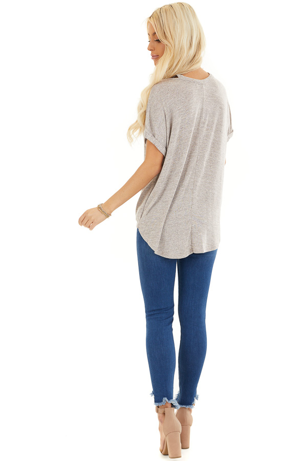 Desert Sand Knit Top with Bubble Hemline and Cutout Detail back full body