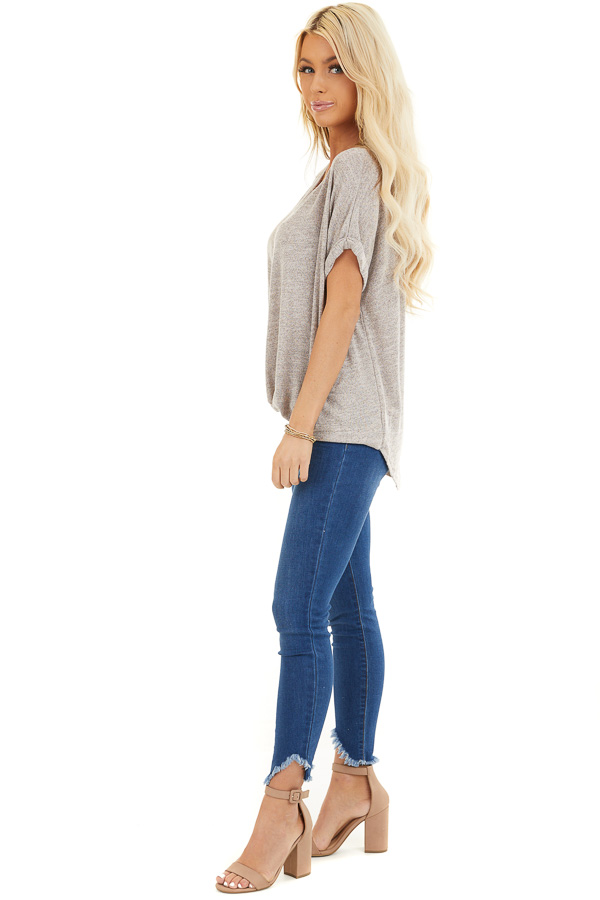 Desert Sand Knit Top with Bubble Hemline and Cutout Detail side full body