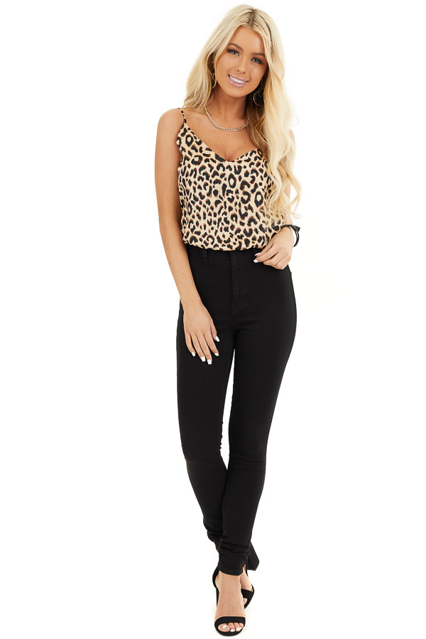 Beige and Chocolate Leopard Print V Neck Silky Tank Top front full body