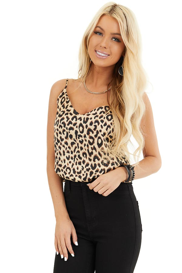 Beige and Chocolate Leopard Print V Neck Silky Tank Top front close up
