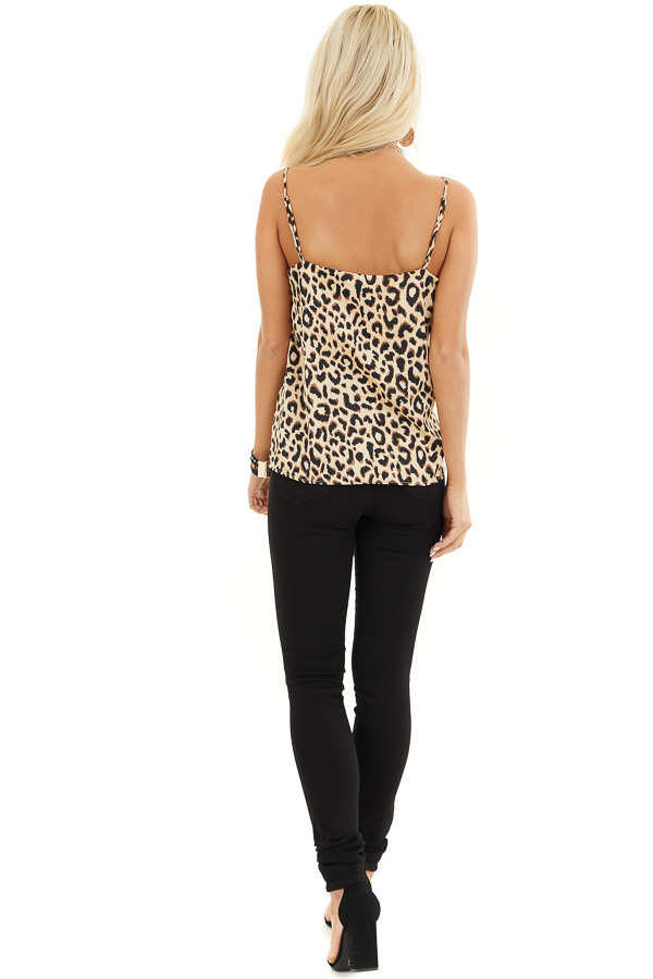 Beige and Chocolate Leopard Print V Neck Silky Tank Top back full body
