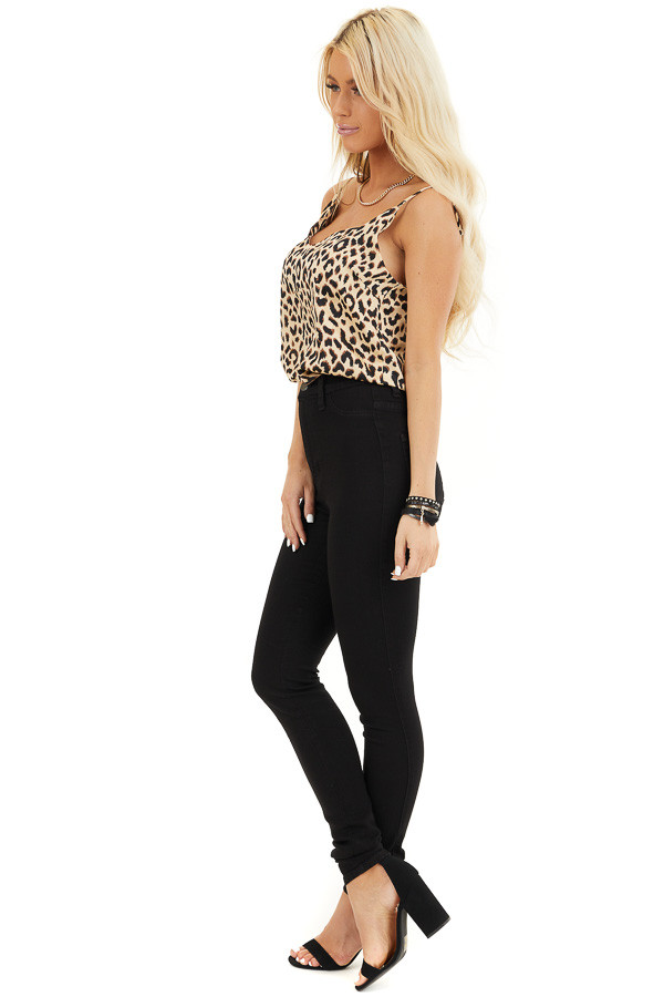 Beige and Chocolate Leopard Print V Neck Silky Tank Top side full body