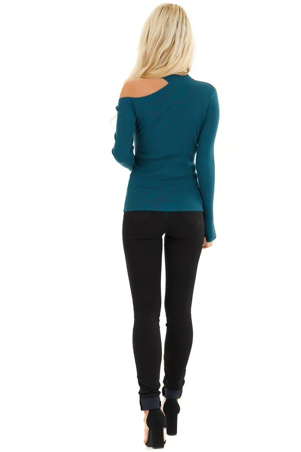 Teal Ribbed Knit Top with Cold Shoulder and Mock Neckline back full body