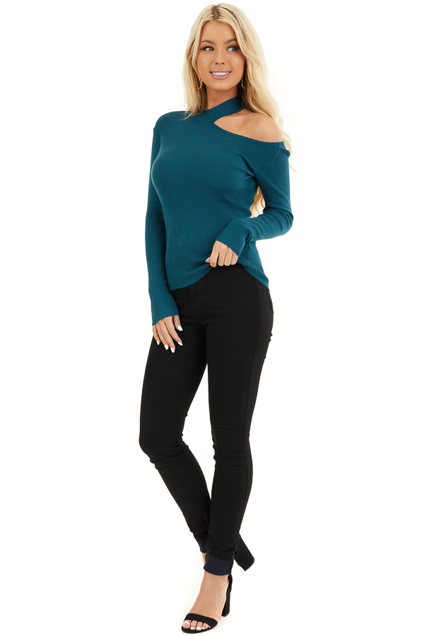 Teal Ribbed Knit Top with Cold Shoulder and Mock Neckline front full body