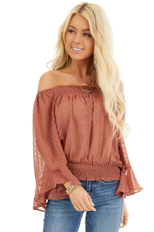 Terracotta Sheer Off the Shoulder Swiss Dot Top front close up