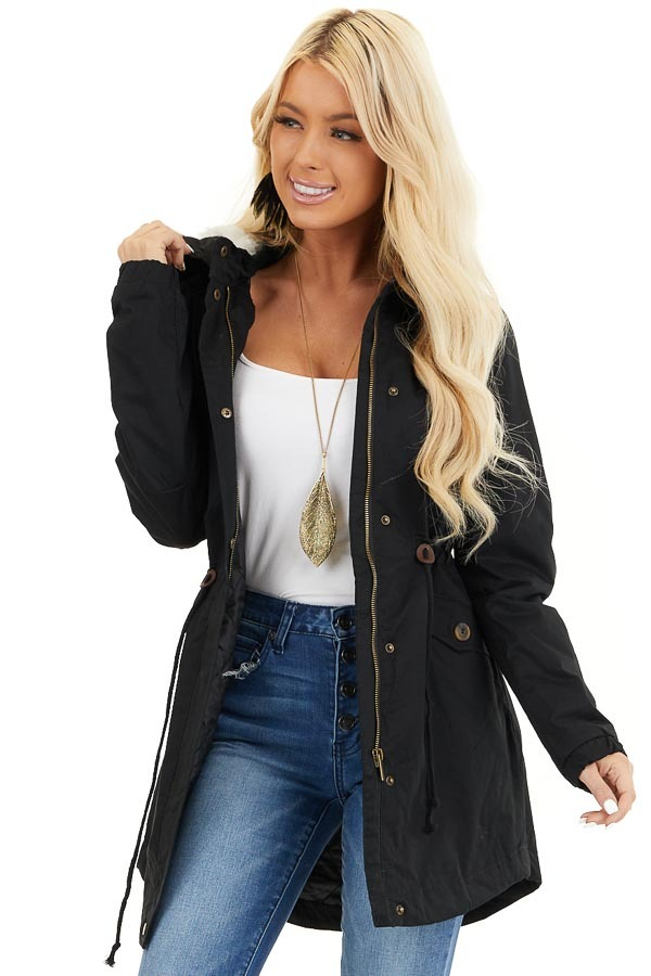 Black Fully Lined Coat with Furry Hood Detail front close up