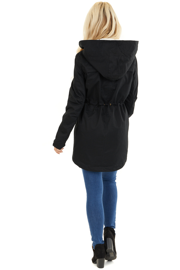 Black Fully Lined Coat with Furry Hood Detail back full body
