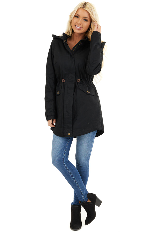 Black Fully Lined Coat with Furry Hood Detail front full body