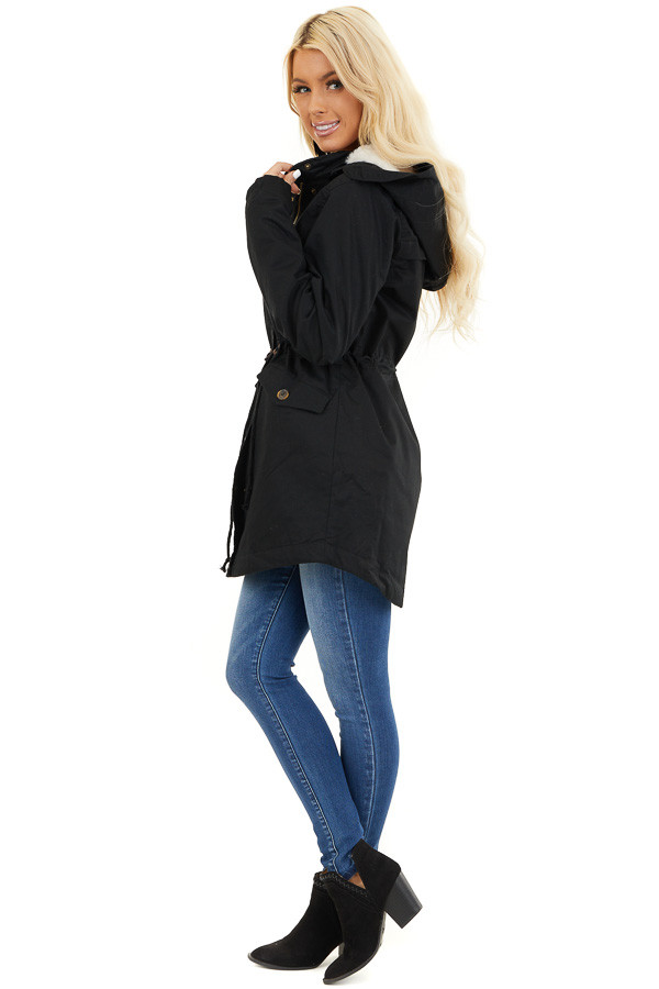 Black Fully Lined Coat with Furry Hood Detail side full body