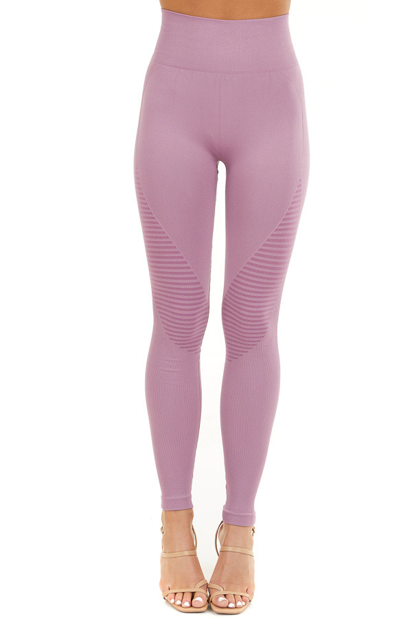 Lilac High Waisted Leggings with Striped Mesh Details front view