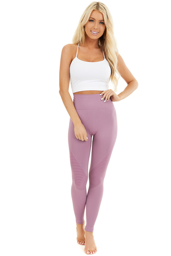 Lilac High Waisted Leggings with Striped Mesh Details front full body