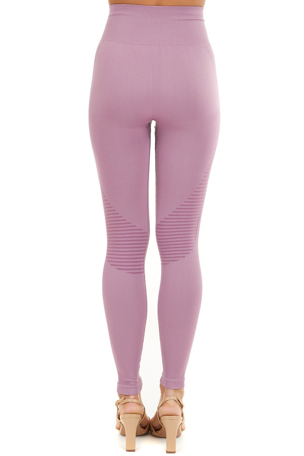 Lilac High Waisted Leggings with Striped Mesh Details back view