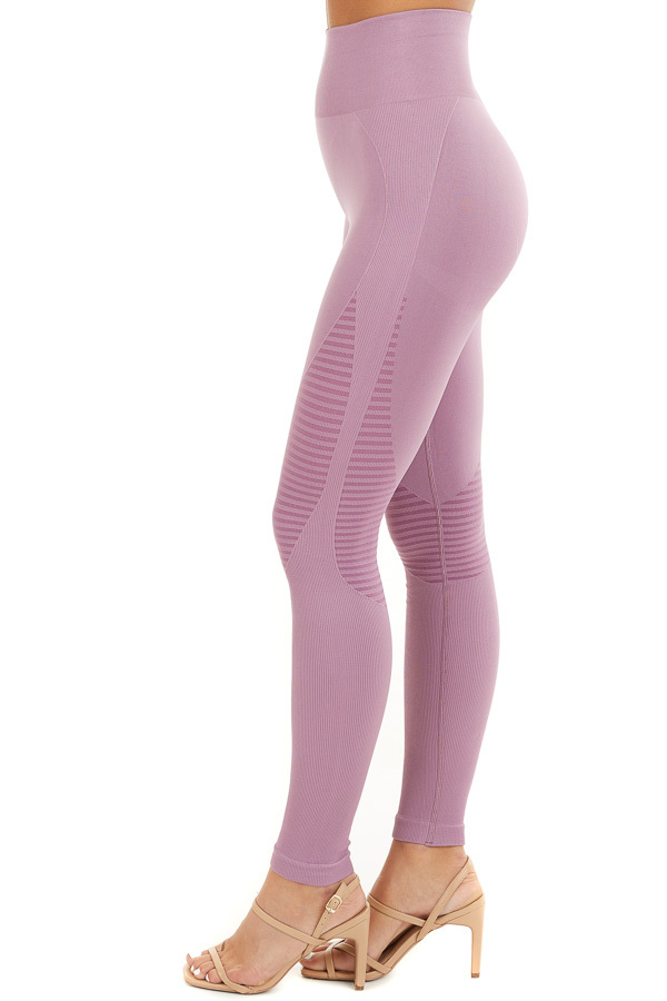 Lilac High Waisted Leggings with Striped Mesh Details side view