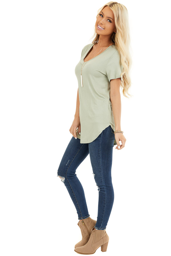 Sage Green Super Soft V Neck Knit Top with Short Sleeves side full body