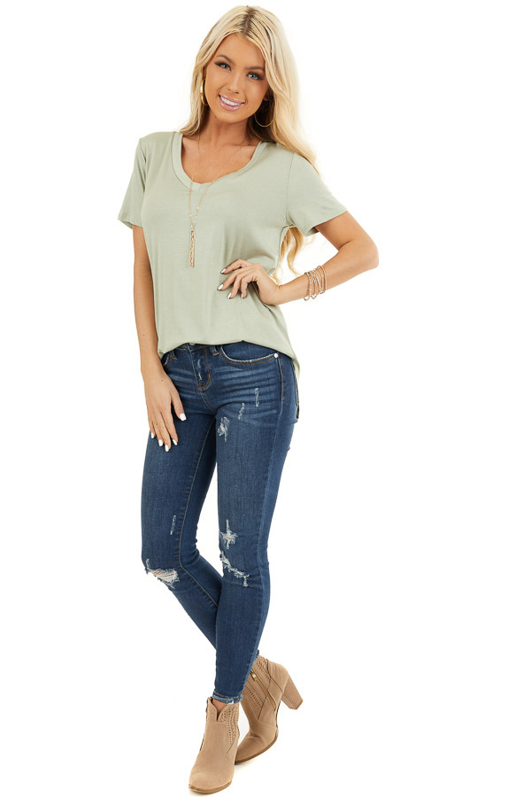 Sage Green Super Soft V Neck Knit Top with Short Sleeves front full body