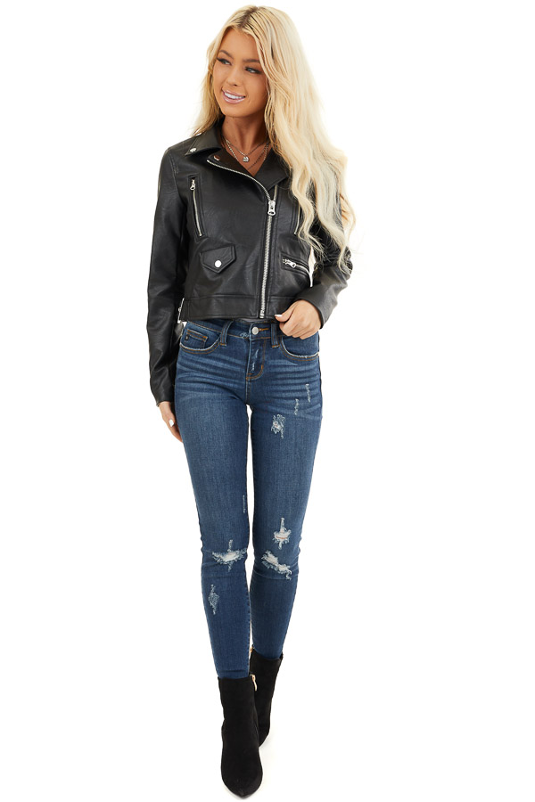 Black Faux Leather Jacket with Asymmetrical Details front full body