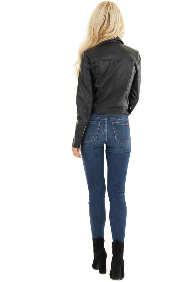 Black Faux Leather Jacket with Asymmetrical Details back full body