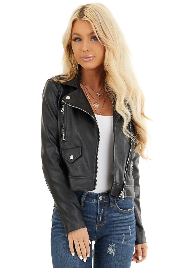 Black Faux Leather Jacket with Asymmetrical Details front close up