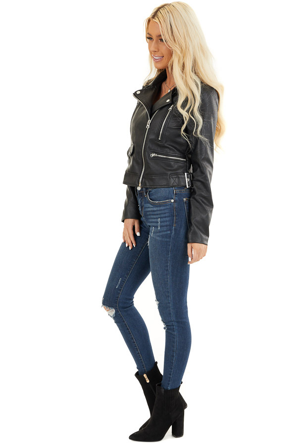 Black Faux Leather Jacket with Asymmetrical Details side full body