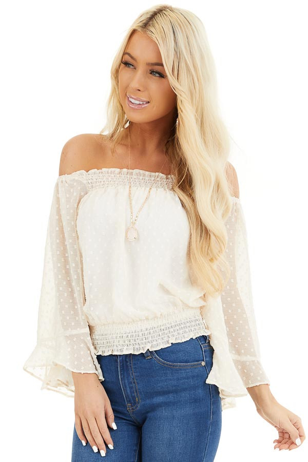Cream Sheer Off the Shoulder Swiss Dot Top front close up