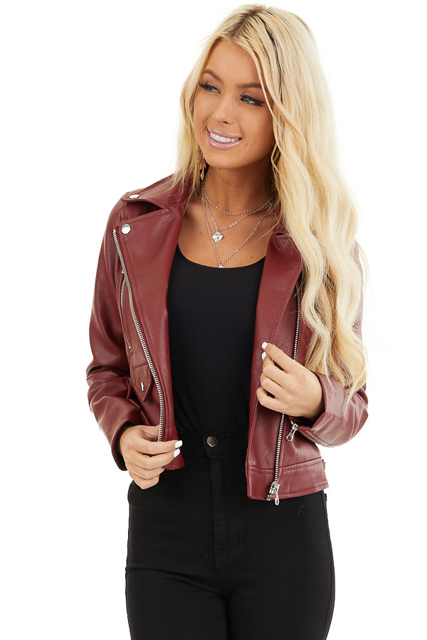 Maroon Faux Leather Jacket with Asymmetrical Details front close up